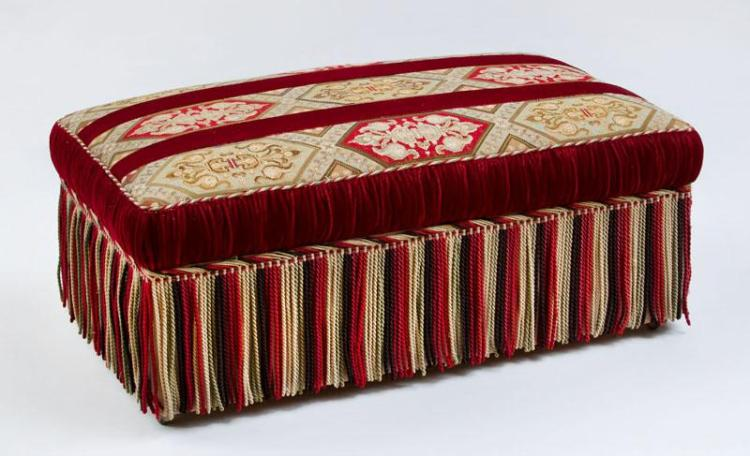 VICTORIAN NEEDLEWORK AND VELVET OTTOMAN