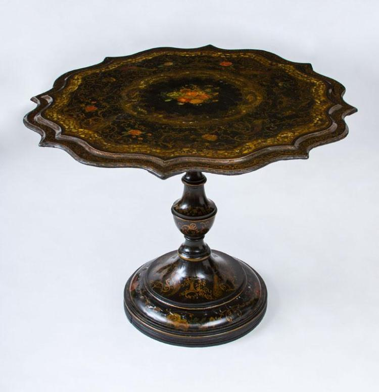 GERMAN BLACK, POLYCHROME, PARCEL-GILT AND MOTHER-OF-PEARL PAPIER MACHÉ CENTER TABLE
