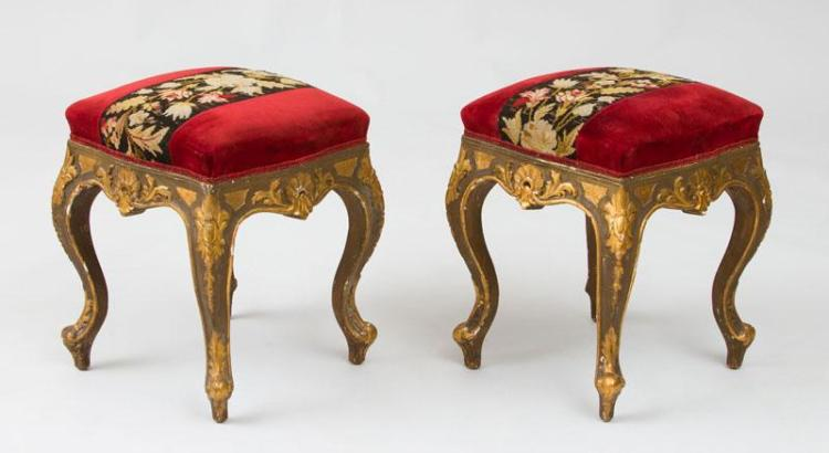 PAIR OF CONTINENTAL ROCOCO STYLE PAINTED AND PARCEL-GILT STOOLS