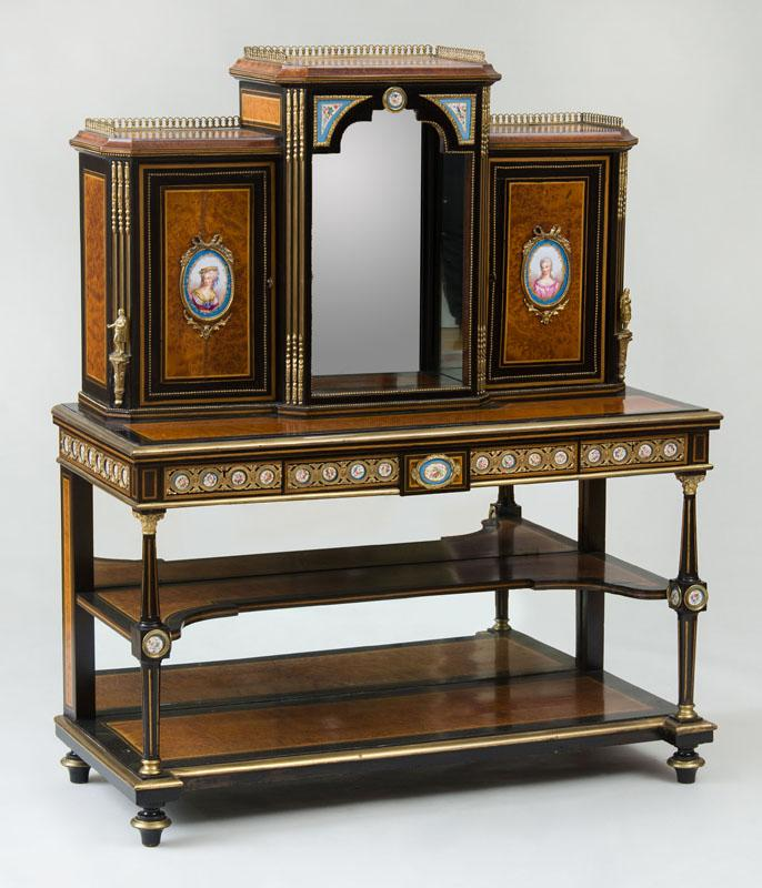 ENGLISH VICTORIAN ORMOLU-MOUNTED PORCELAIN, AMBOYNA AND EBONIZED CURIO CABINET