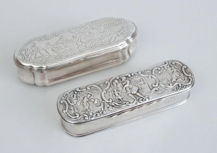 TWO CONTINENTAL SILVER TOBACCO BOXES