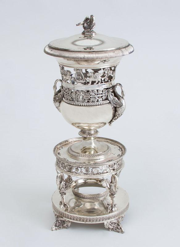 RESTAURATION (.950) SILVER URN ON STAND