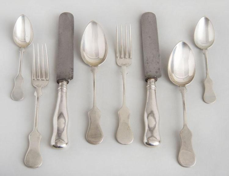 AUSTRIAN SILVER FORTY-SEVEN PIECE PART FLATWARE SERVICE