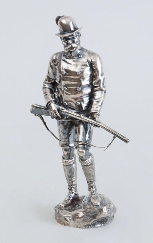 AUSTRIAN SILVER FIGURE OF A HUNTSMAN, AFTER RUDOLPH WINDER