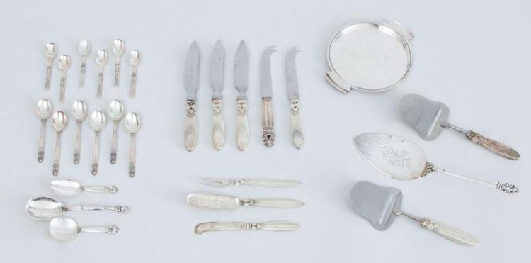 GROUP OF GEORG JENSEN SILVER FLATWARE AND A SMALL TRAY