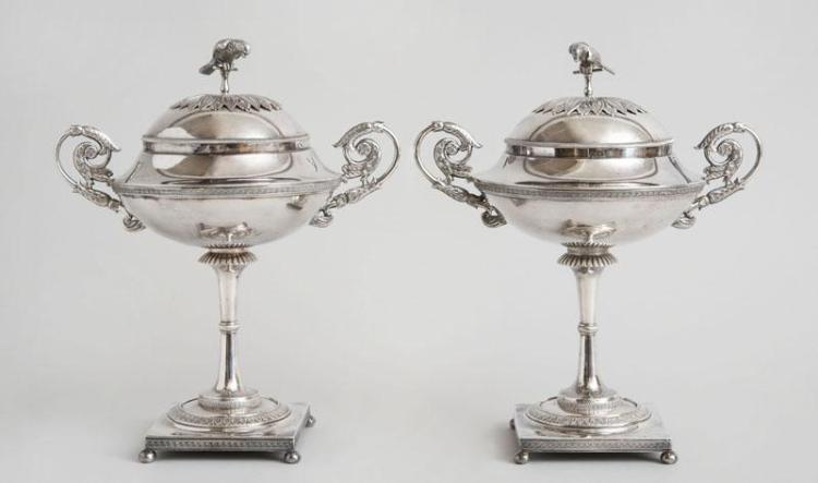 PAIR OF SWEDISH SILVER TAZZA AND COVERS