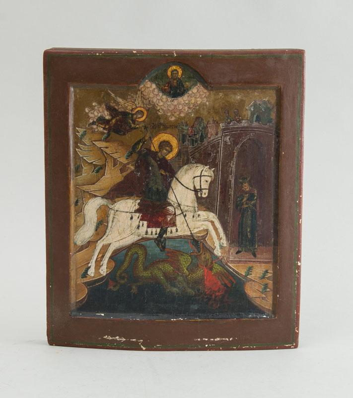 RUSSIAN ICON OF ST. GEORGE AND THE DRAGON
