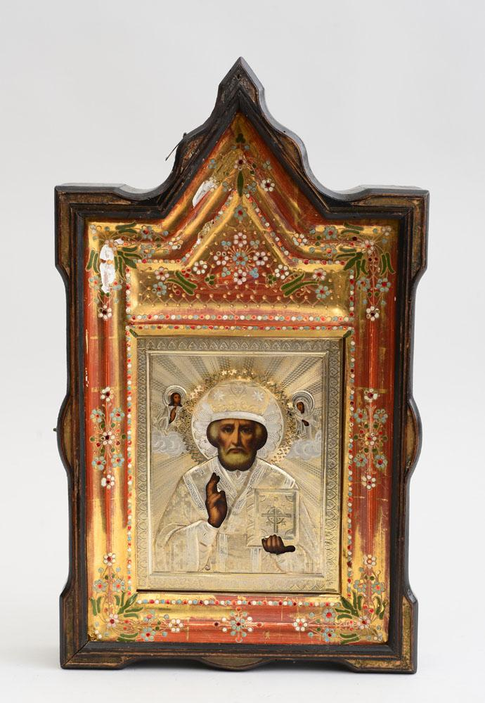 RUSSIAN ICON OF ST. NICHOLAS THE WONDER WORKER WITH SILVER OKLAD