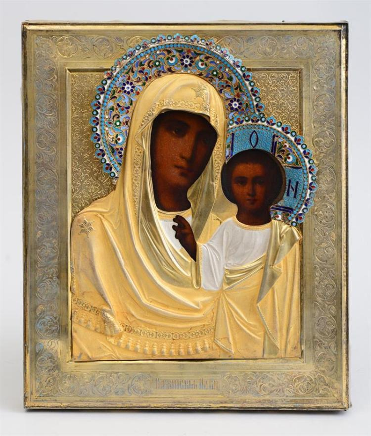RUSSIAN SILVER ICON OF THE KAZAN VIRGIN AND CHILD, WITH SILVER OKLAD