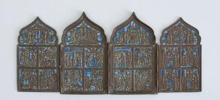RUSSIAN ENAMEL-ON-BRASS FOUR-PANEL ICON