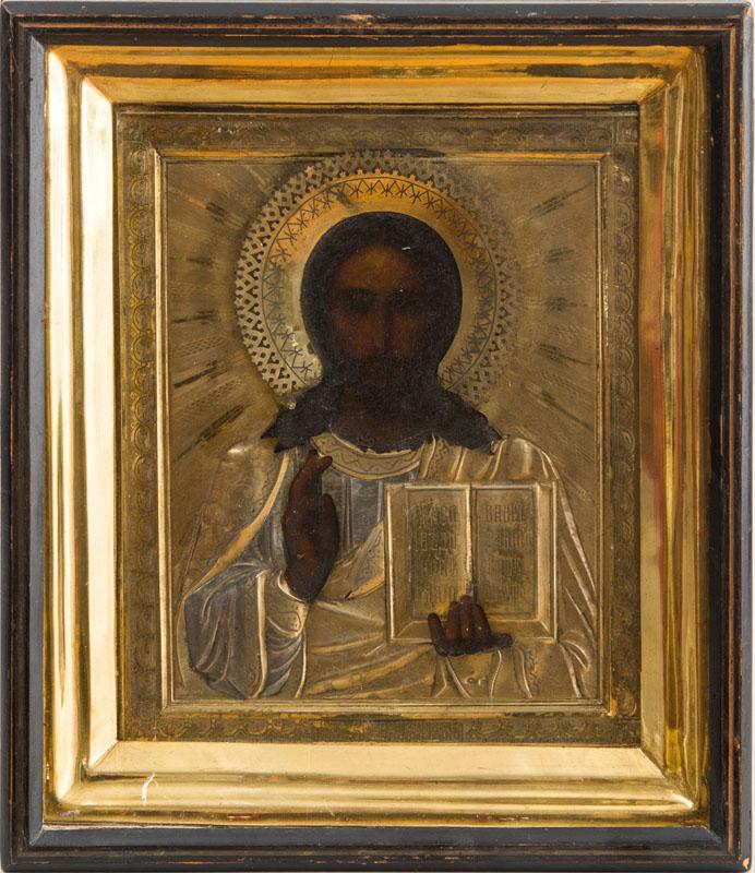 RUSSIAN ICON OF CHRIST WITH BIBLE, WITH SILVER-GILT OKLAD