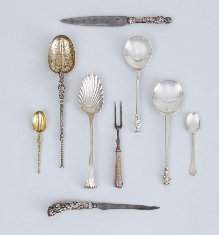 GROUP OF EARLY ENGLISH AND BAROQUE STYLE SILVER FLATWARE ARTICLES