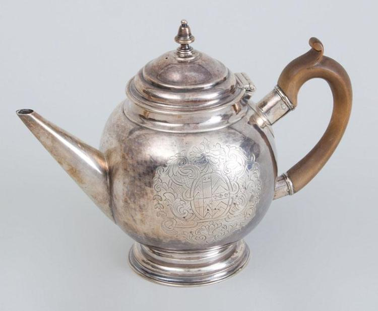 ENGLISH ARMORIAL SILVER BULLET-FORM TEAPOT, POSSIBLY QUEEN ANNE