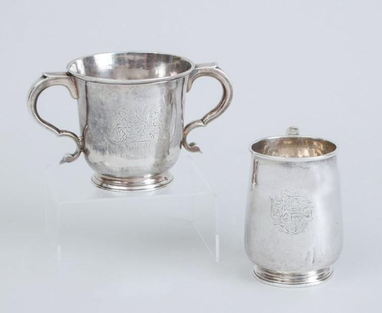 GEORGE III ARMORIAL SILVER MUG AND GEORGE I ARMORIAL SILVER TWO-HANDLED CUP