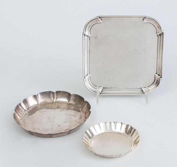 GEORGE I SILVER WAITER AND TWO SILVER SWEETMEAT DISHES