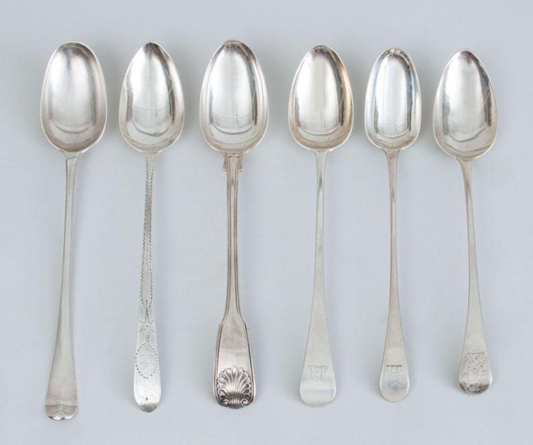 GEORGE I CRESTED SILVER BASTING SPOON AND FIVE GEORGE III SILVER BASTING SPOONS