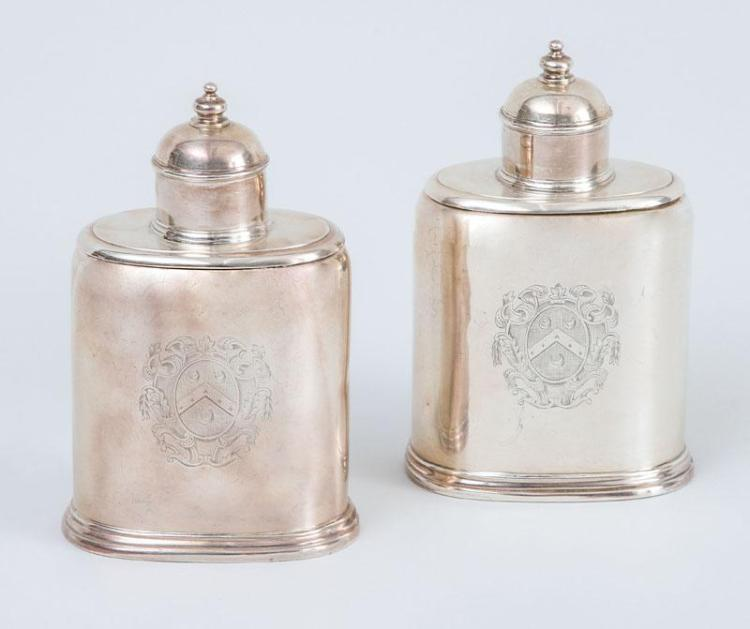 PAIR OF ARMORIAL SILVER TEA CADDIES AND COVERS
