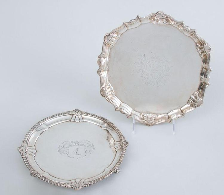 GEORGE II ARMORIAL SILVER SALVER AND A GEORGE III CRESTED SILVER TRIPOD SALVER