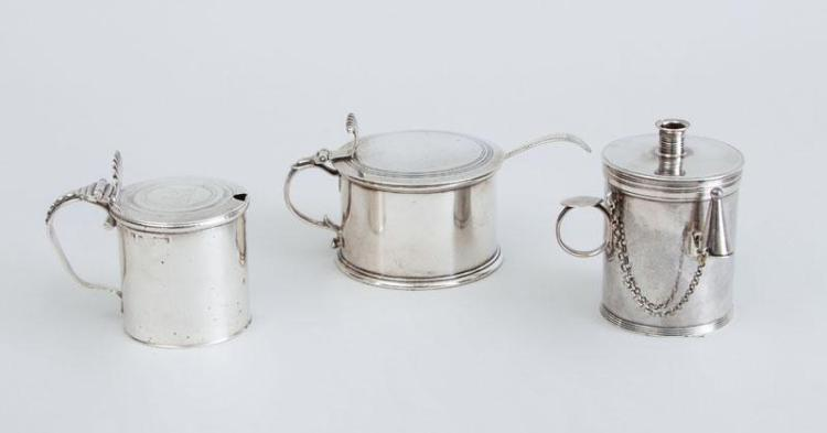 IRISH GEORGE III SILVER MUSTARD POT, AN ENGLISH GEORGE III POT, A SALT SPOON AND A GEORGE III OIL LAMP