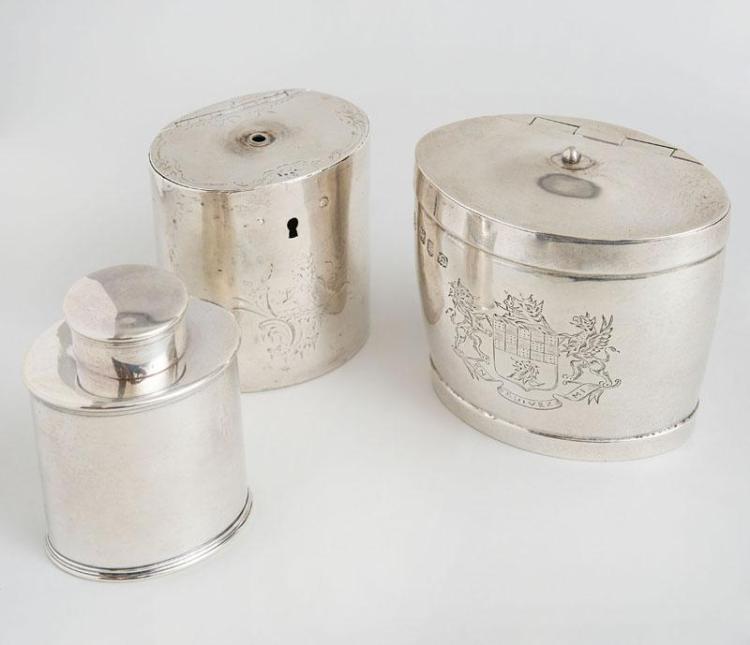 THREE GEORGE III SILVER TEA CADDIES