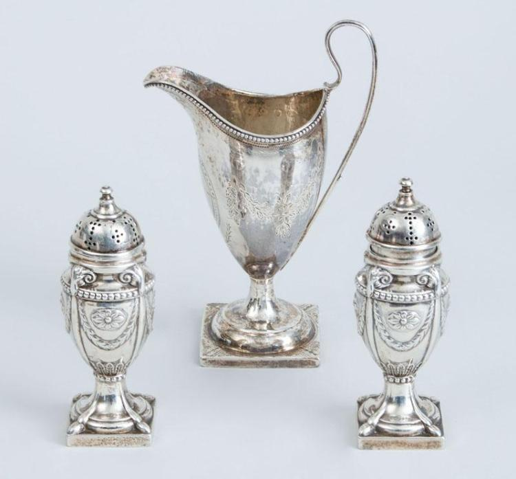 GEORGE III BRIGHT CUT ENGRAVED SILVER HELMET-FORM CREAMER