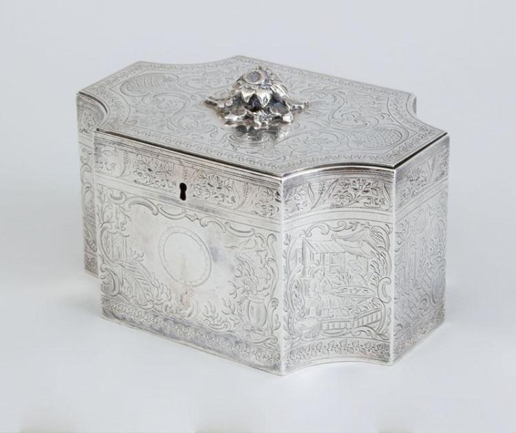 GEORGE III ENGRAVED SILVER LARGE TEA CADDY