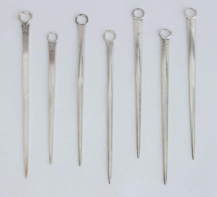GROUP OF SEVEN GEORGE III SILVER SKEWERS