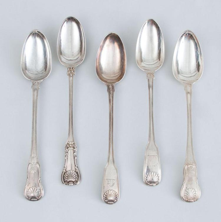 FIVE GEORGE III SILVER STUFFING SPOONS