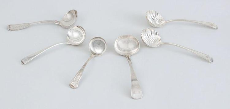 PAIR OF GEORGE III ARMORIAL SILVER GRAVY LADLES, TWO ENGLISH SILVER LADLES AND TWO AMERICAN LADLES