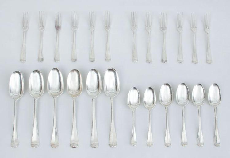 ASSEMBLED GROUP OF TWENTY-FOUR GEORGE I ARMORIAL SILVER FLATWARE