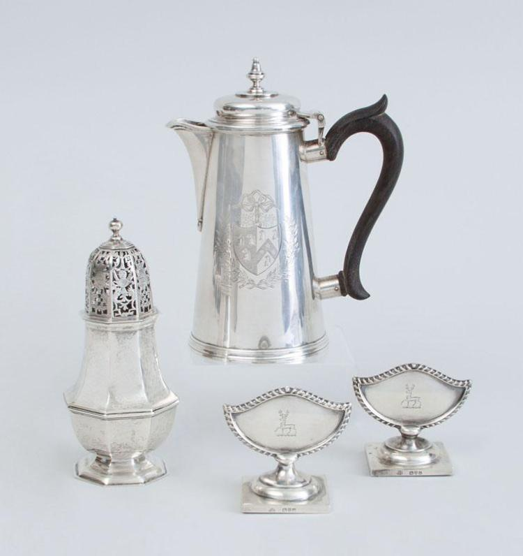 FOUR ENGLISH SILVER TABLE ARTICLES