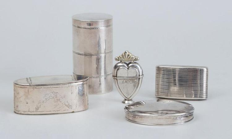 GEORGE III SILVER CYLINDRICAL THREE-TIER BOX AND COVER, A GEORGE III SILVER MATCH SAFE, A SILVER-PLATED OVAL DOUBLE-HINGED BOX AND T...