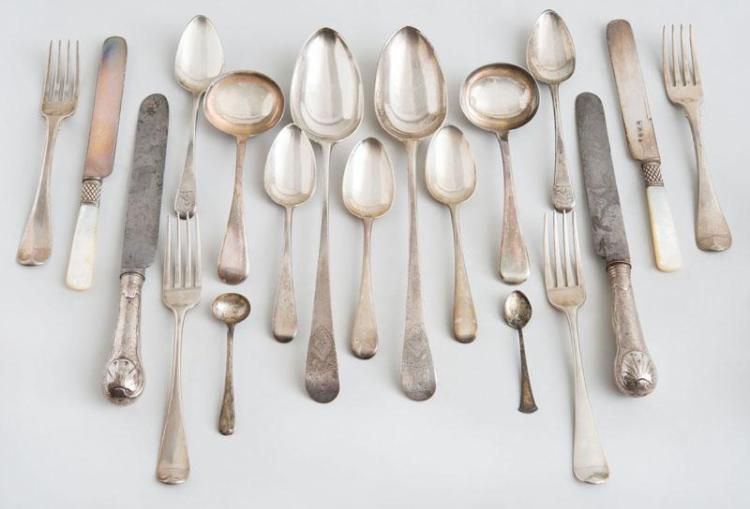 GROUP OF SEVENTY-FOUR ASSEMBLED GEORGIAN AND LATER SILVER FLATWARE WITH VARIOUS CRESTS