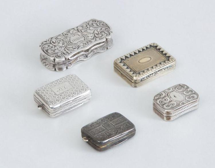 GROUP OF FIVE GEORGIAN AND VICTORIAN SILVER VINAIGRETTES