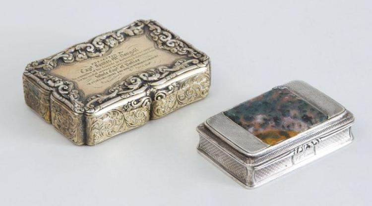 SCOTTISH WILLIAM IV STONE MOUNTED SILVER SNUFF BOX AND A VICTORIAN PRESENTATION BOX