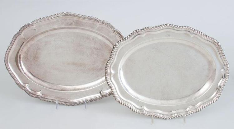 EDWARD VII CRESTED SILVER SMALL MEAT DISH AND A SIMILAR SILVER-PLATED TRAY