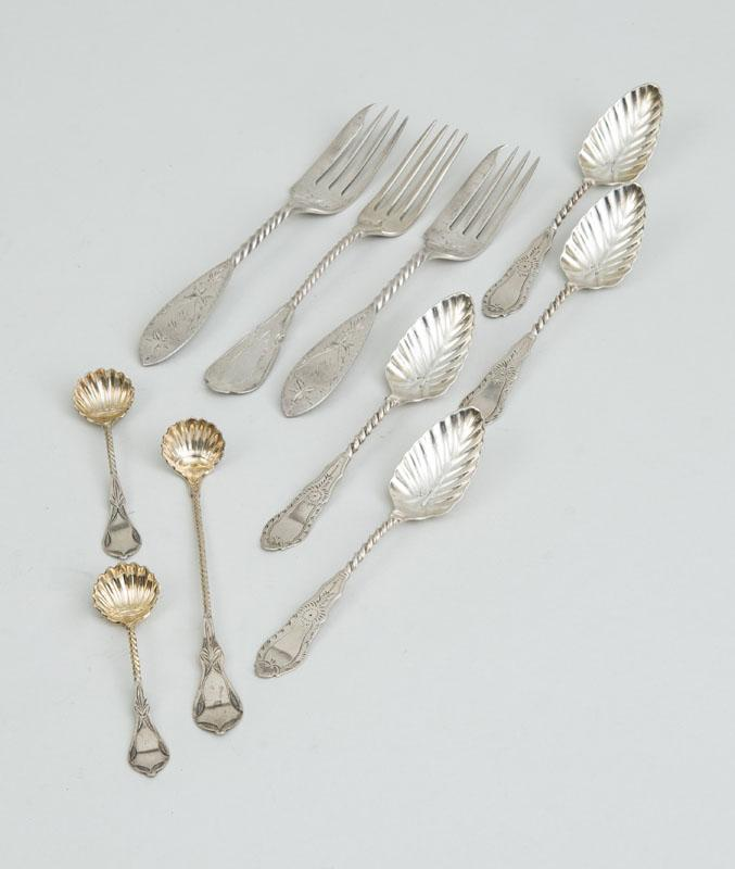 GROUP OF AMERICAN SILVER FLATWARE WITH BRIGHT CUT ENGRAVED HANDLES