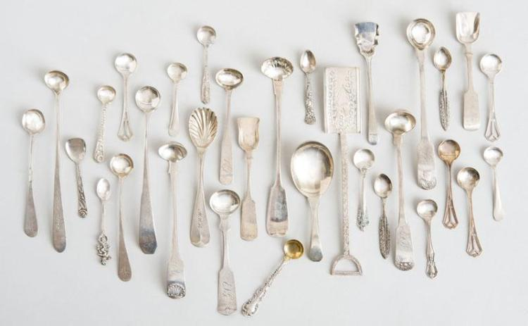 GROUP OF SIX AMERICAN SILVER CONDIMENT LADLES, TWENTY SILVER SALT SPOONS, FOUR SHOVELS, A CADDY SPOON AND A SPOON WITH SHELL BOWL