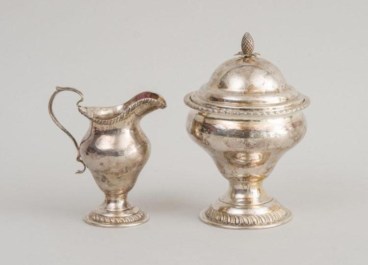 AMERICAN SILVER SUGAR BOWL AND COVER AND A MATCHING SILVER CREAMER