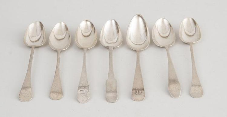 FIVE AMERICAN MONOGRAMMED SILVER TABLESPOONS