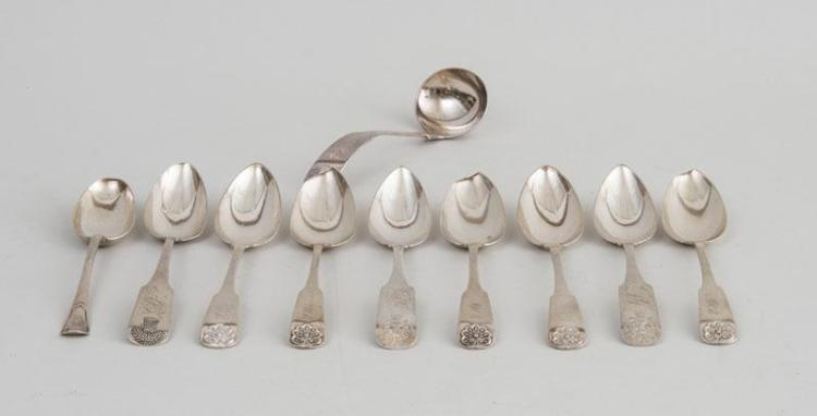 GROUP OF AMERICAN SILVER FIDDLE-HANDLED SERVING ARTICLES