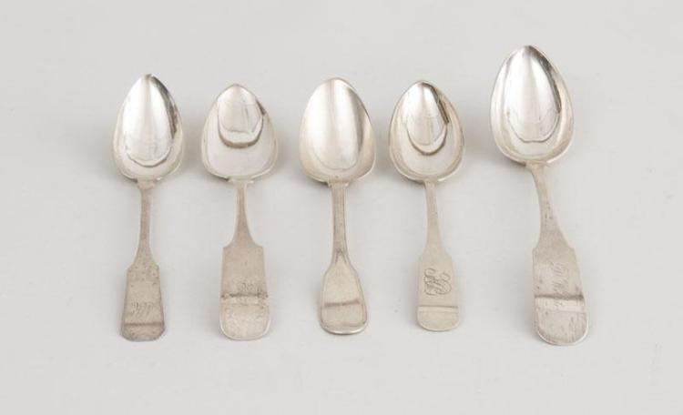FOUR AMERICAN COIN SILVER FIDDLE PATTERN TABLESPOONS AND FIDDLE AND THREAD PATTERN TABLESPOON