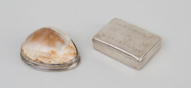 FEDERAL SILVER-MOUNTED COWRIE SHELL BOX AND AN AMERICAN SILVER BOX