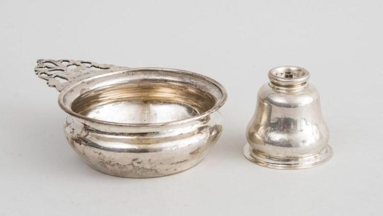 AMERICAN SILVER PORRINGER WITH LATER INSCRIPTION AND A SILVER BELL-FORM OIL LAMP