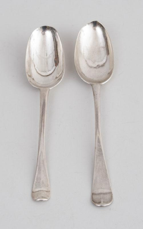 TWO AMERICAN SILVER TABLESPOONS