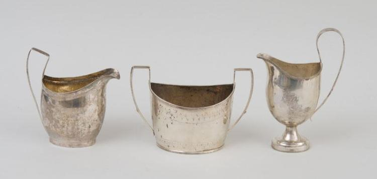 TWO AMERICAN SILVER CREAM JUGS AND A SUGAR BOWL