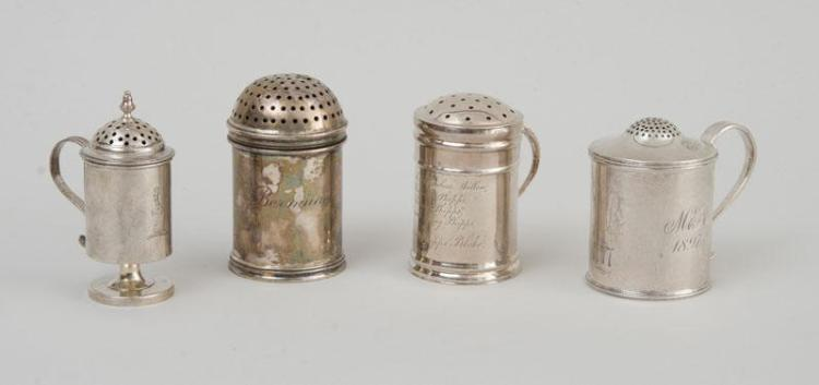 THREE AMERICAN SILVER PEPPER POTS AND A SILVER DREDGER