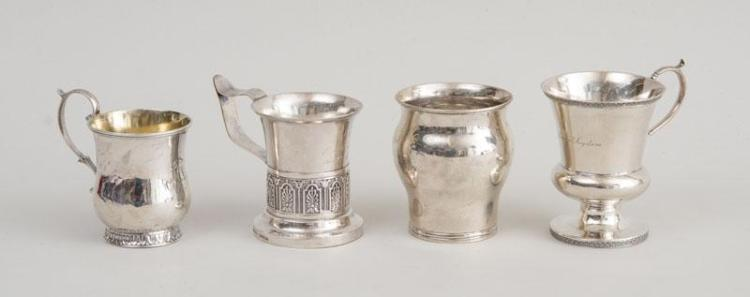 THREE AMERICAN SILVER MUGS AND A BALUSTER-FORM CUP