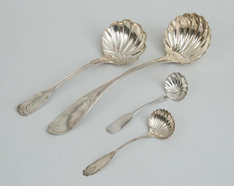 TWO AMERICAN SILVER PUNCH LADLES AND TWO SAUCE LADLES WITH SHELL BOWLS