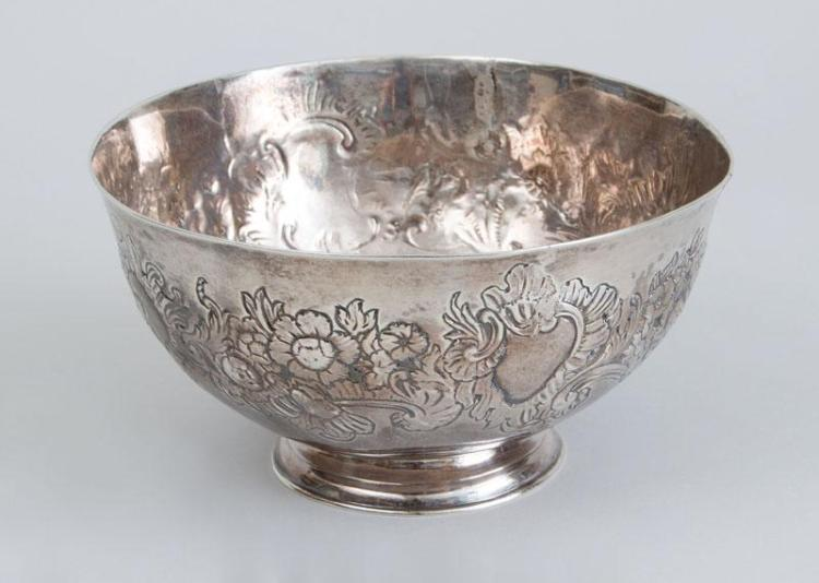AMERICAN SILVER FOOTED BOWL WITH LATER REPOUSSÉ DECORATION